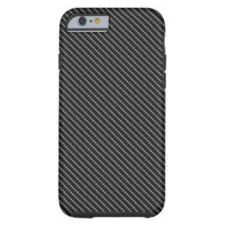 Base negra de la fibra funda resistente iPhone 6