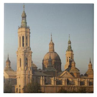 Basilica de Nuestra Senora de Pilar, el río Ebro Azulejo Cuadrado Grande
