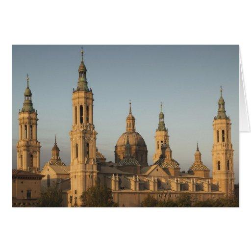 Basilica de Nuestra Senora de Pilar, el río Ebro Tarjeton