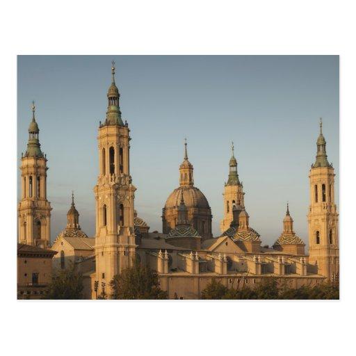 Basilica de Nuestra Senora de Pilar, el río Ebro Tarjetas Postales