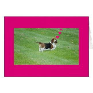 """Basset Hound en la """"falta de usted"""" tarjeta de"""