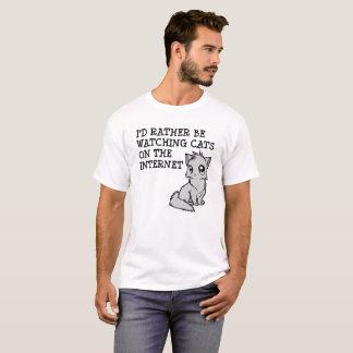 Bastante camiseta divertida de los gatos del reloj