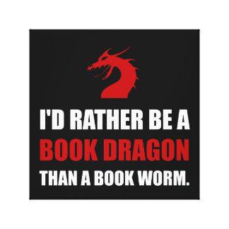 Bastante dragón del libro que gusano impresión en lienzo