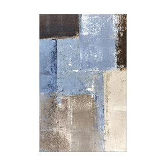 """""""Bastante fácil"""" arte abstracto azul y beige Impresiones En Lienzo Estiradas"""