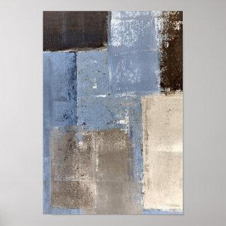 """""""Bastante fácil"""" arte abstracto azul y beige Póster"""