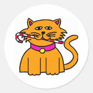 Bastón de caramelo del gatito pegatina redonda