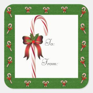Bastón de caramelo del navidad a/desde el pegatina