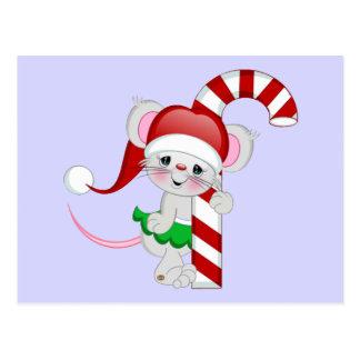 Bastón de caramelo del ratón del navidad postal
