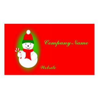 Bastón del muñeco de nieve y de caramelo tarjeta personal