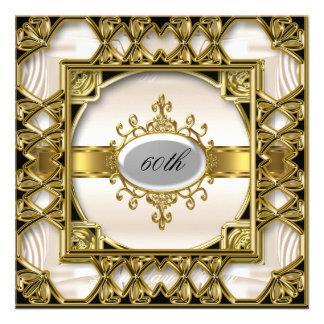 Bata el 60 o oro de la crema de la invitación de l