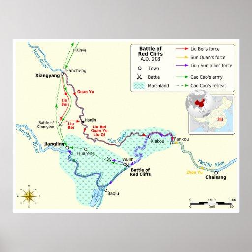 Batalla de tres reinos del mapa rojo de los póster