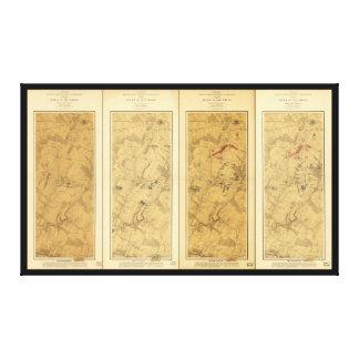 Batalla del campo de Gettysburg del mapa de Impresión En Lienzo
