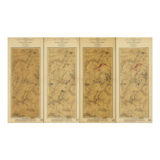 Batalla del campo de Gettysburg del mapa de Póster