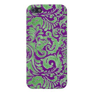 Batik floral verde púrpura iPhone 5 protector