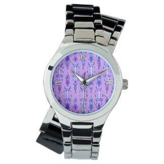 Batik tribal - lavanda, azul y violeta relojes de mano
