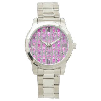 Batik tribal - rosa, violeta y gris fucsias relojes de pulsera