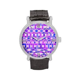 Batik tribal - sombras de la púrpura violeta relojes