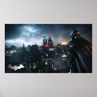 Batman que mira sobre ciudad póster