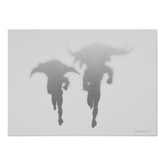 Batman y pendiente del tono medio del petirrojo invitación 12,7 x 17,8 cm