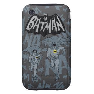 Batman y petirrojo con el gráfico apenado logotipo iPhone 3 tough fundas