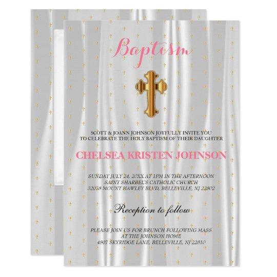 Bautismo/bautizo blancos bonitos del satén invitación 12,7 x 17,8 cm