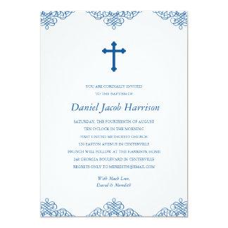 Bautismo/bautizo de los muchachos azules invitación 12,7 x 17,8 cm