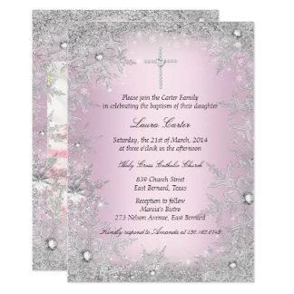Bautismo/bautizo de plata rosados del copo de invitación 12,7 x 17,8 cm