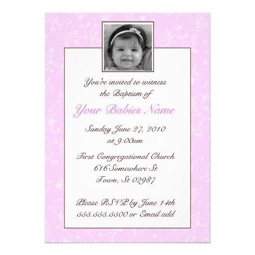 Bautismo/bautizo del chica invitación personalizada