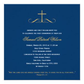 Bautismo bautizo primero comunión cruzados elegant invitaciones personalizada