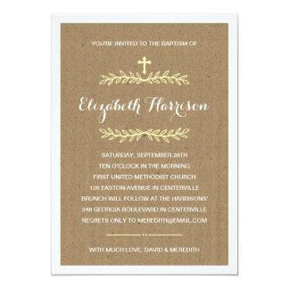 Bautismo/bautizo rústicos del papel de Kraft el | Invitación 12,7 X 17,8 Cm
