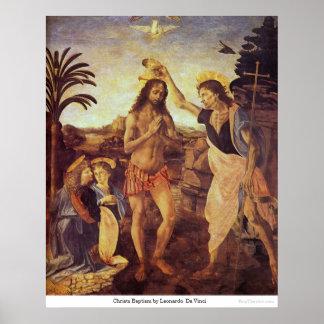 Bautismo de Christs de Leonardo da Vinci Póster