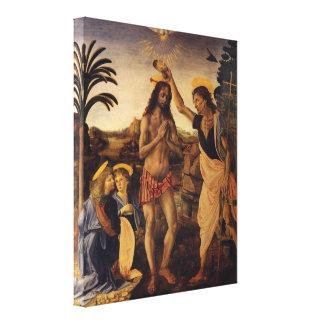 Bautismo de Cristo de Andrea del Verrocchio Impresión En Lienzo Estirada