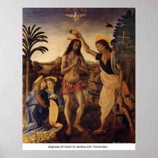 Bautismo de Cristo de Andrea del Verrocchio Póster