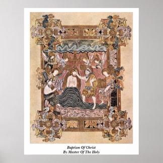 Bautismo de Cristo por el amo del santo Poster