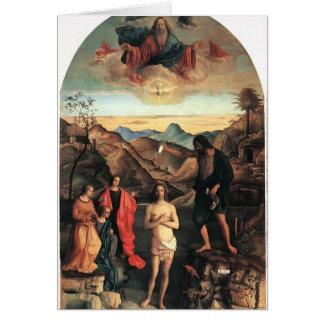 Bautismo de Juan Bellini- de Cristo Altarpiece Tarjeta