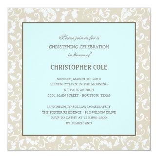 Bautismo de la elegancia/invitación florales del invitación 13,3 cm x 13,3cm