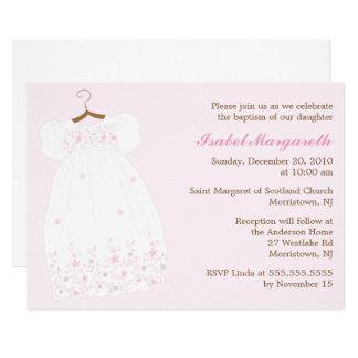 Bautismo de la niña del vestido del bautizo invitación 12,7 x 17,8 cm