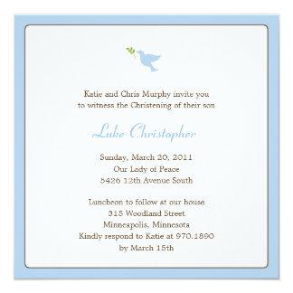 Bautismo de la paloma del azul/invitación del invitación 13,3 cm x 13,3cm