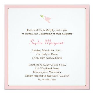 Bautismo de la paloma del rosa/invitación del invitación 13,3 cm x 13,3cm