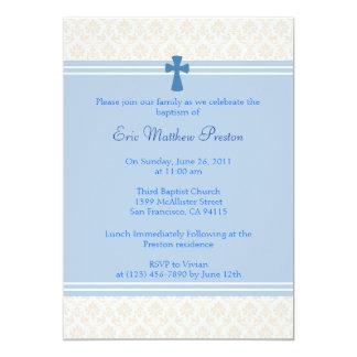 Bautismo del damasco/invitación azules del bautizo