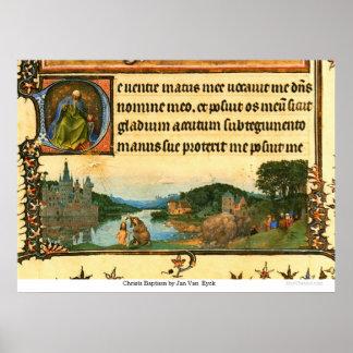 Bautismo en enero Van Eyck de Christs Póster