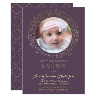 Bautismo, invitación de la foto del bautizo, chica