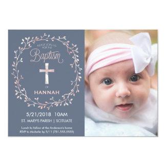 Bautismo, invitación de la foto del bautizo - niña