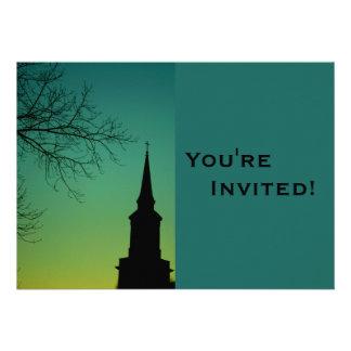 Bautismo personalizado de la aguja de la iglesia invitaciones personalizada