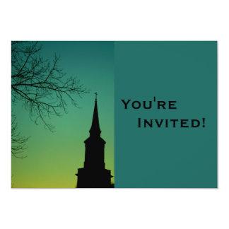 Bautismo personalizado de la aguja de la iglesia invitación 12,7 x 17,8 cm