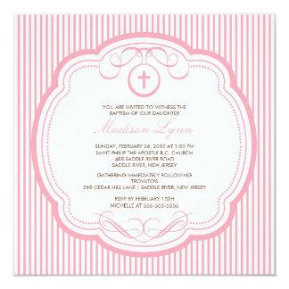 Bautismo rosado cruzado dulce Inviation de la niña Invitación 13,3 Cm X 13,3cm