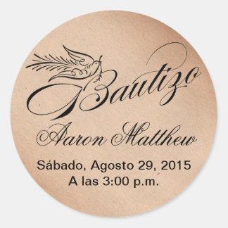 Bautismo y paloma de Bautizo de la caligrafía Pegatina Redonda
