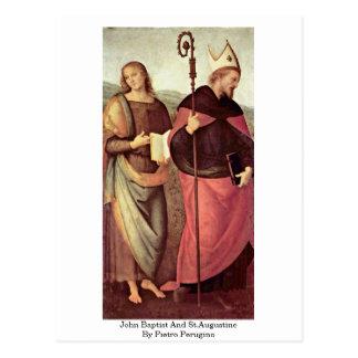 Bautista y St Augustine de Juan de Pedro Perugino Postal