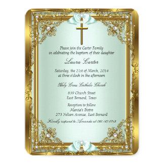 Bautizo 3 del bautismo de la cruz del damasco de invitación 10,8 x 13,9 cm