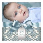 Bautizo azul beige de la foto del bebé del damasco invitación 13,3 cm x 13,3cm